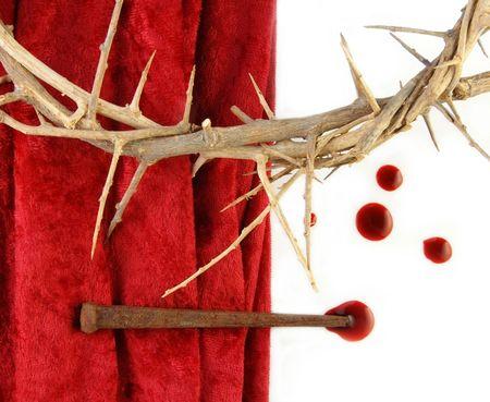 Corona de espinas con espigas de metales y goteos de sangre.  Foto de archivo - 6203729