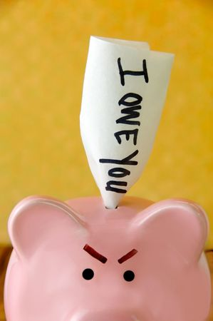 Angry piggy bank with an IOU sticking out the top.