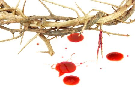 Crown of Thorns and drops of blood on white. Stock Photo