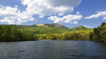 Table Rock State Park and Pinnacle Lake in South Carolina in the spring Stock Photo