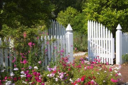 open garden gate: Garden Gate Stock Photo