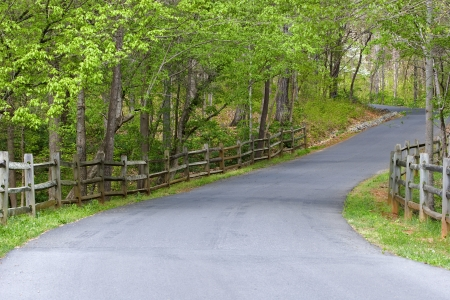 Driveway with Fence Stock Photo