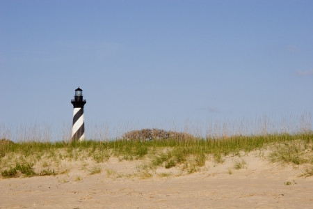 Cape Hatteras Lighthouse with Beach and Sand Foreground