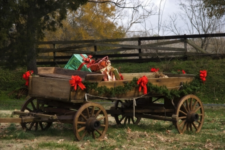 Christmas Wagon Stock Photo