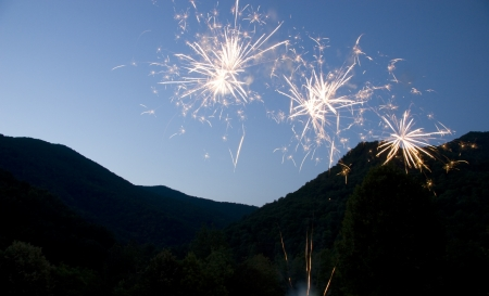 Fireworks Against Mountain Sky Stock Photo - 17450954