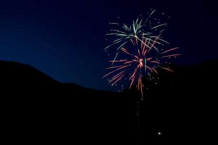 Fireworks Against Mountain Sky Stock Photo - 17450953