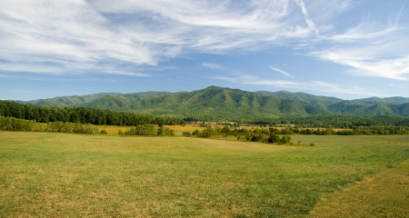 tn: Cades Cove Field and Mountains Stock Photo