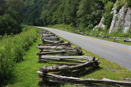 split rail: Blue Ridge Parkway and Split Rail Fence Stock Photo