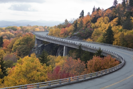 linn: Linn Cove Viaduct in the Fall in North Carolina Stock Photo