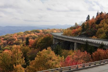 linn: Linn Cove Viaduct in the Fall in North Carolina Stock Photo
