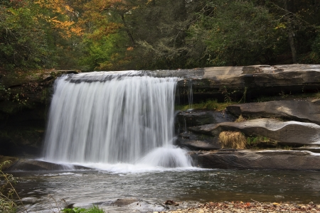 elysium: Twin Falls in Autumn Color Stock Photo