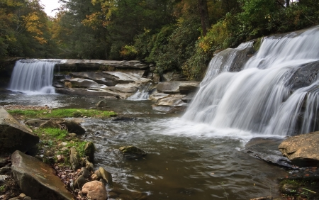 nc: Twin Falls near Rosman, NC Stock Photo