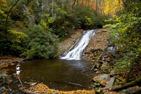 watershed: Indian Creek Falls in the Deep Creek Area in NC Stock Photo