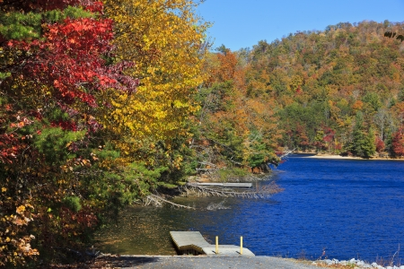 nc: Wolf Creek Lake in NC Stock Photo