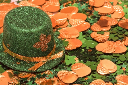 St Patrick s Day Leprechaun Hat Shamrock and Gold Coins photo