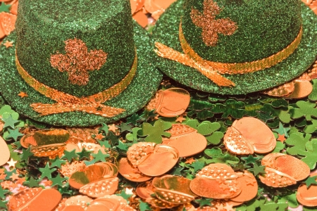Saint Patrick s Day Leprechaun Hat and Gold Coins photo