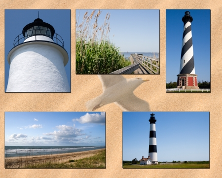 nc: NC Lighthouse Outer Banks Collage Stock Photo
