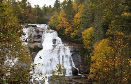 dupont: High Falls in the Dupont State Forest in the fall season