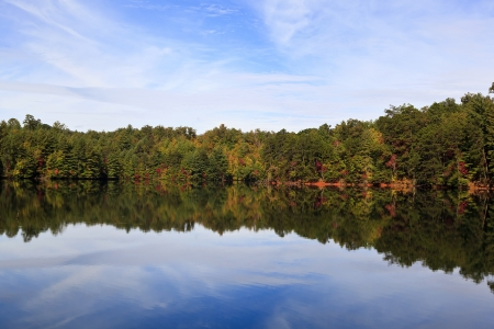 Santeetlah Lake in Graham County in North Carolina with pretty sky and cloud reflections