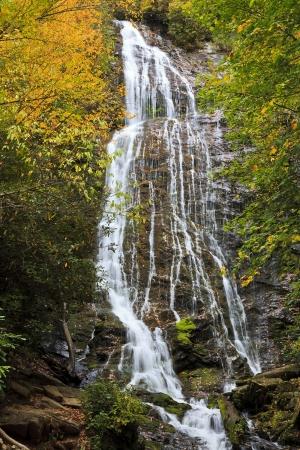cherokee: Mingo Falls near Cherokee, North Carolina in the fall Stock Photo