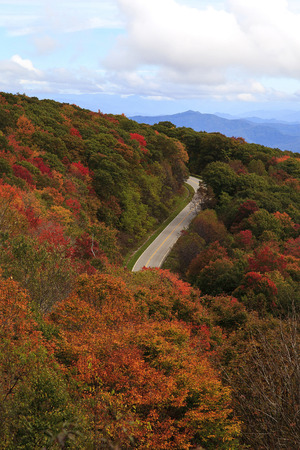 Cherohala Skyway road in the Fall near Robbinsville, North Carolina photo