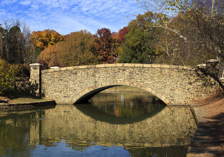 Stone bridge at Freedom Park in Charlotte, NC in the fall season