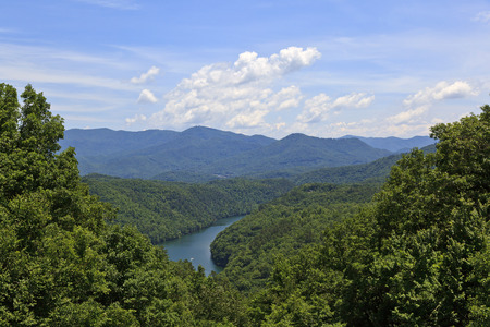 swain: Fontana Lake on the Little Tennessee River in NC in the summer Stock Photo