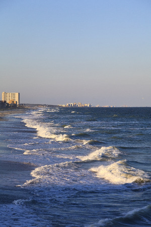 myrtle beach: Myrtle Beach with ocean waves coming to shore