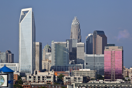 uptown: Charlotte, North Carolina, USA - August 23, 2010: Charlotte skyline in the daytime showing most of the towers uptown Editorial