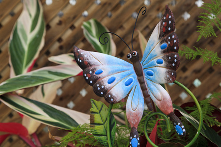 stake: Colorful butterfly yard art garden stake Stock Photo