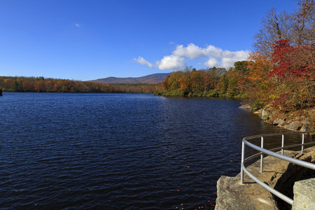 mount price: Julian Price Lake Memorial Park in the Fall, near Blowing Rock, North Carolina Stock Photo