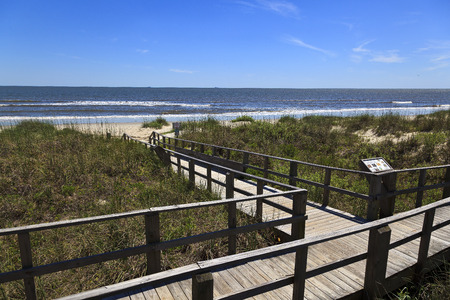 Caswell Beach and Boardwalk in North Carolina Stock Photo