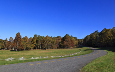 The Blue Ridge Parkway Road in Virginia in the fall Stock Photo