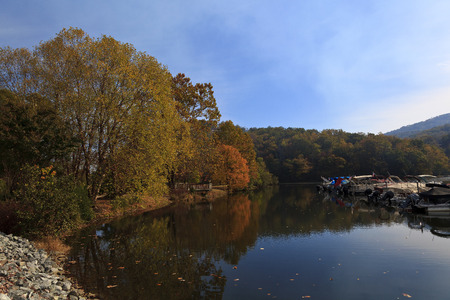 Lake Lure Marine during the fall with boats from Morse Park