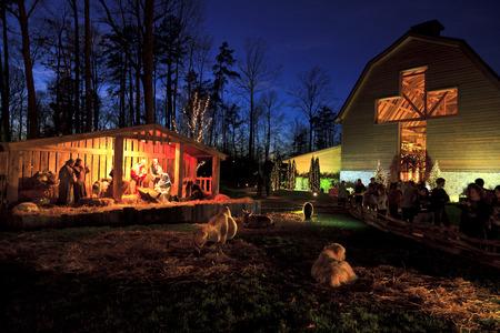 Charlotte, North Carolina, USA - December 15, 2011: Live nativity scene at the Billy Graham Library Editoriali