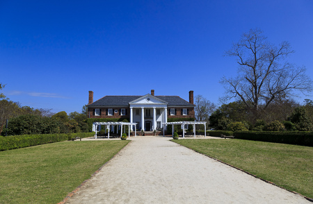 CHARLESTON SOUTH CAROLINA April 1, 2011: Boone Hall Plantation House in Mount Pleasant, plantation includes a large Colonial Revival plantation house that replaces the lost original house