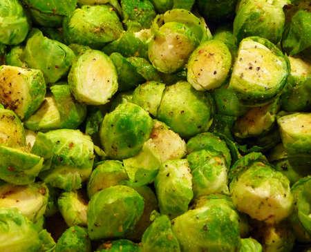 seasoned: Fresh steamed and seasoned brussels sprouts vegetables