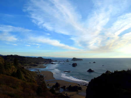 Panoramic view of cloudy sky over Oregon coastline photo