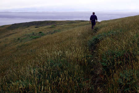 View of man walking along a grassy hillside on a foggy coast Stock Photo