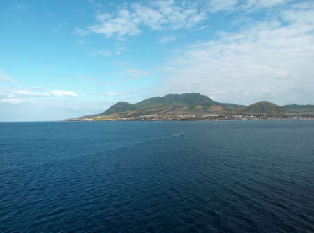 View of St. Kitts under cloudy blue sky
