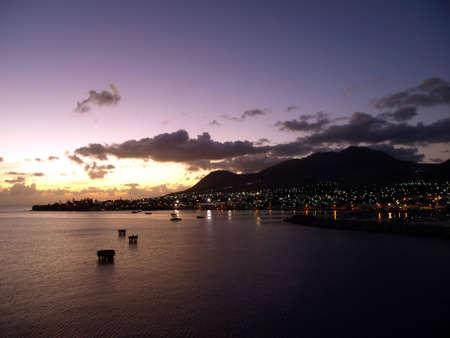 View of St. Kitts under a cloudy sunset sky Reklamní fotografie