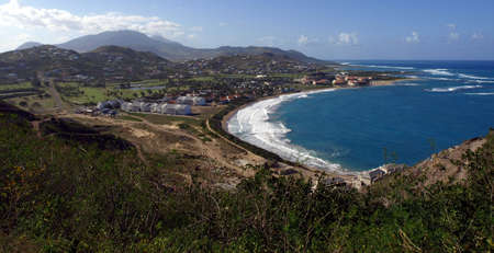 frigate: View of Frigate Bay and hills of St. Kitts Stock Photo