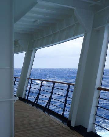 An empty walking deck on the rear of a cruise ship Reklamní fotografie