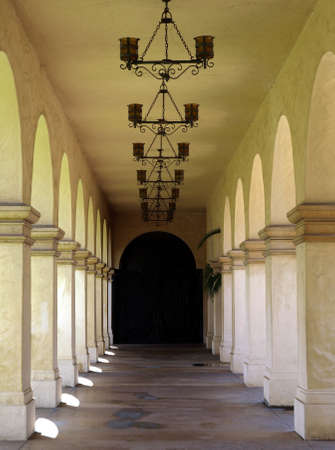 An exterior mission style walkway with arched design photo