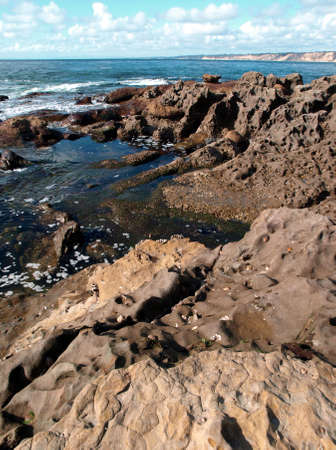 View down the pacific coast of coral formations
