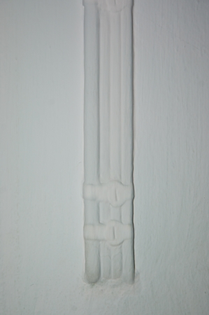 copper wire: white three line wire on white background Stock Photo