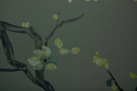 black and yellow shade flower textile wall cover pattern photo