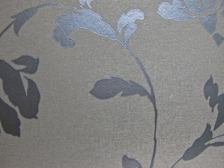 coverings: silver tone flower textile wall coverings pattern Stock Photo