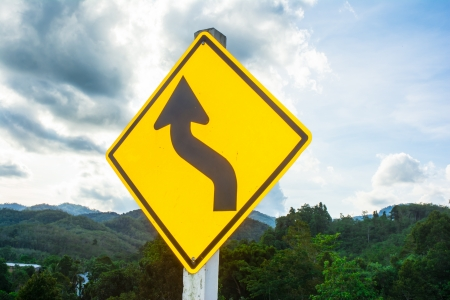 yellow traffic sign on natural backgrounds Stock Photo - 19353599