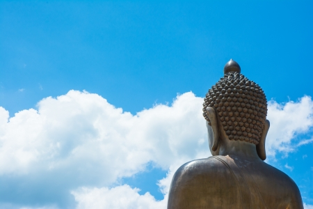 back view top head Buddha statue of thailand on natural backgrounds photo